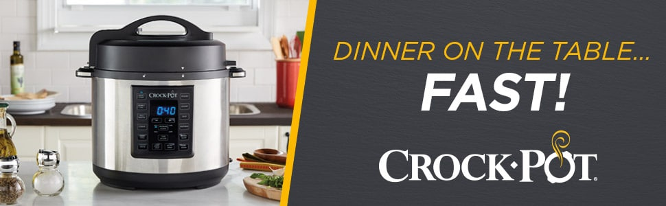 Crock-Pot Pressure Cooker with Kitchen Background; Dinner on the Table...Fast!
