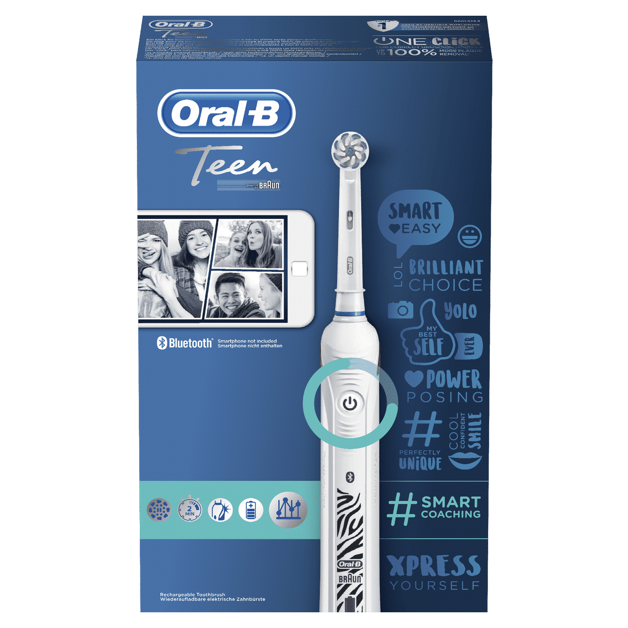 ORAL B POWER TOOTHBRUSH TEEN  WHITE HANDLE
