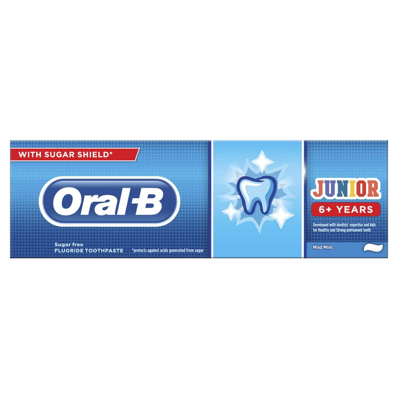 ORAL B TOOTHPASTE JUNIOR 6+YRS 75ML (NEW)
