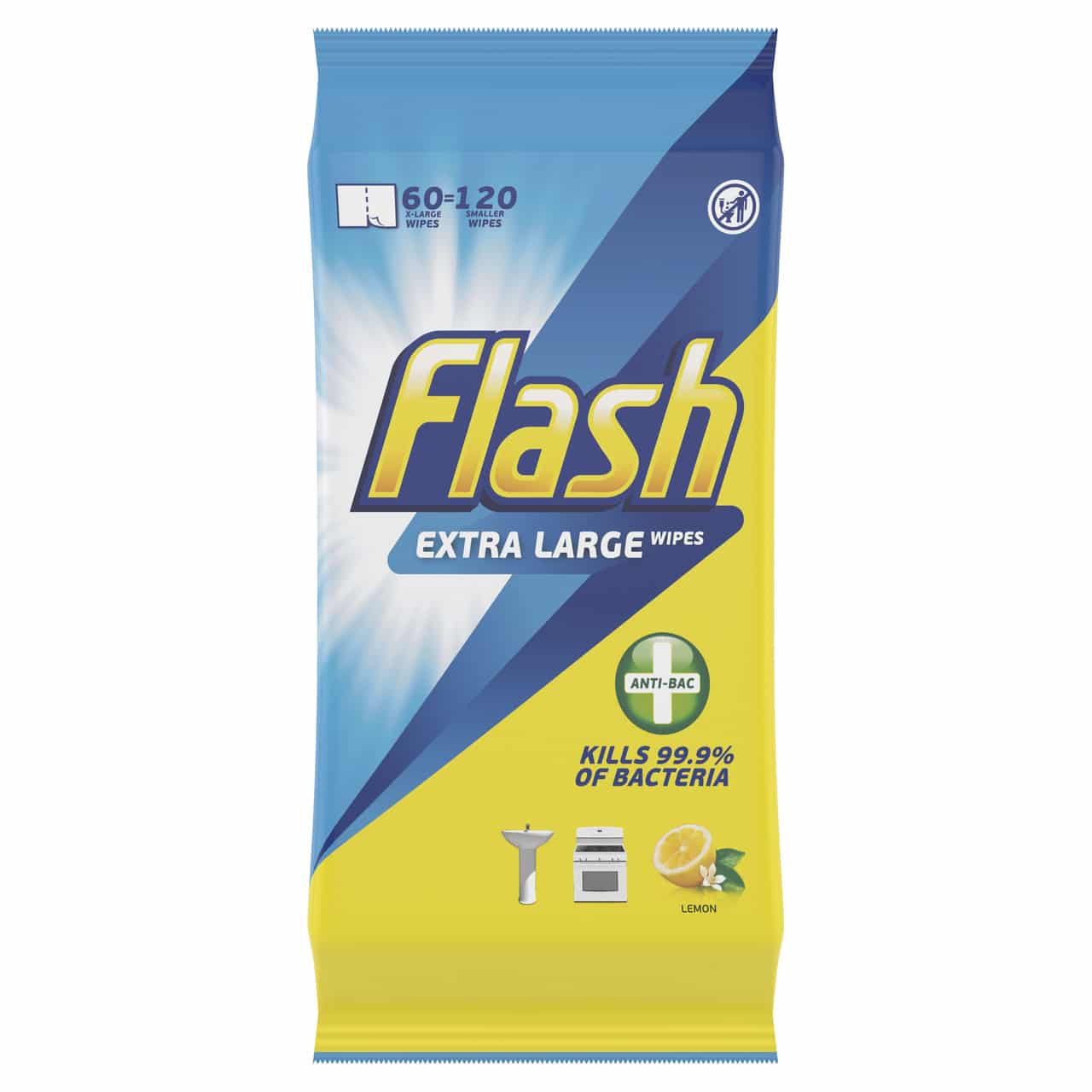 FLASH ANTIBACTERIAL XL WIPES BY 60