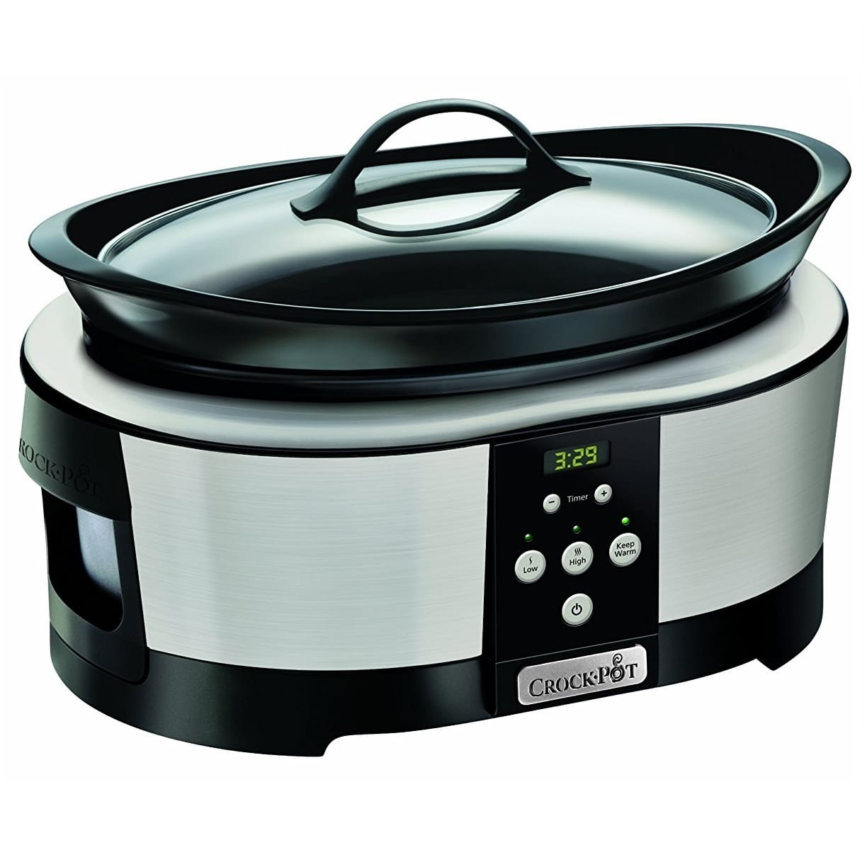 CROCK-POT SLOW COOKER BLACK/STAINLESS STEEL 5.7L (For 6)