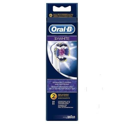 ORAL B POWER BRUSH HEAD PRO 3D WHITE (EB18) x2s (7757)