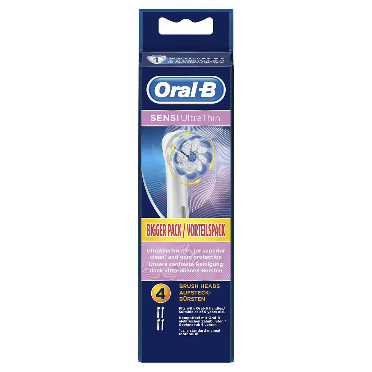 ORAL B POWER BRUSH HEAD SENSITIVE ULTRA THIN x4s