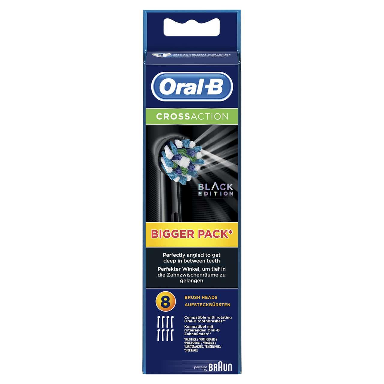 ORAL B POWER BRUSH HEAD CROSSACTION BLACK (EB50BK-8) x8s