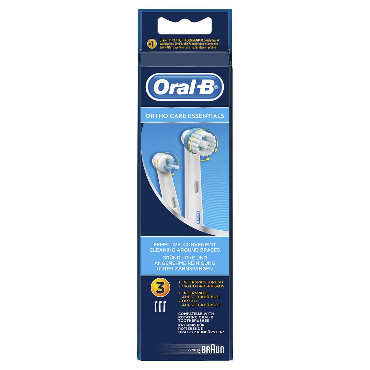 ORAL B POWER BRUSH HEAD ORTHODONTIQUE (OD17) x3s