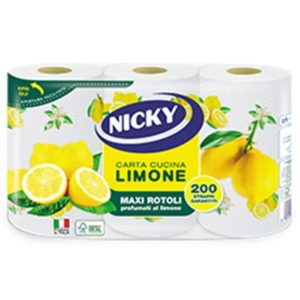 NICKY PAPER TOWELS LEMON 2 PLY 3 ROLLS