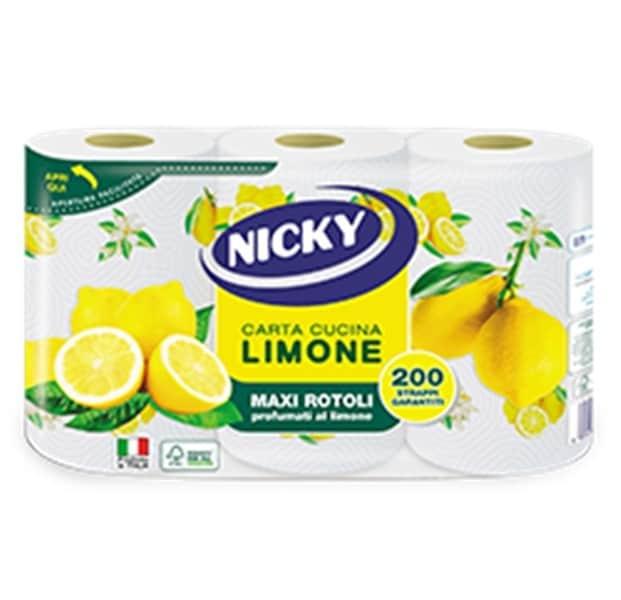 NICKY PAPER TOWELS LEMON 2 PLY 3 ROLLS