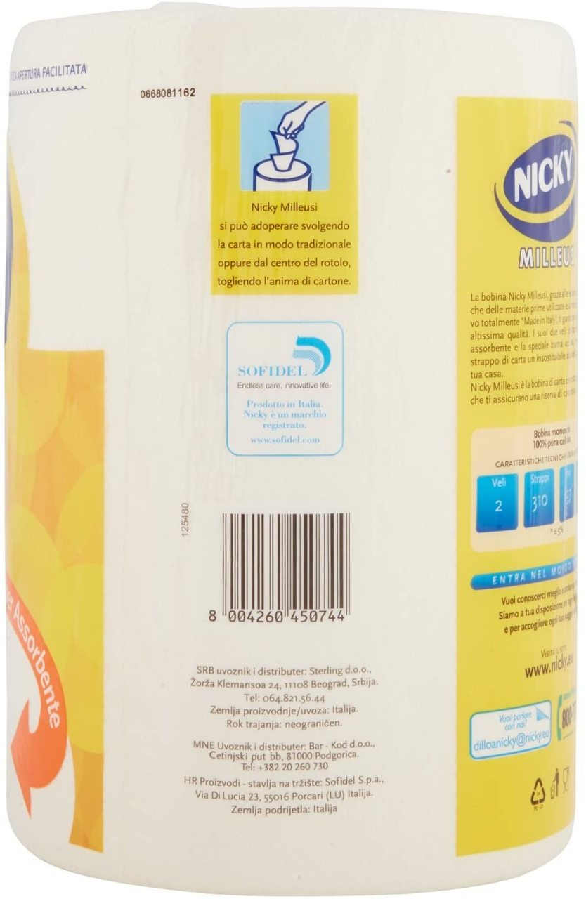 NICKY PAPER TOWELS MILLEUSI 2 PLY 1 ROLL 310 TEARS