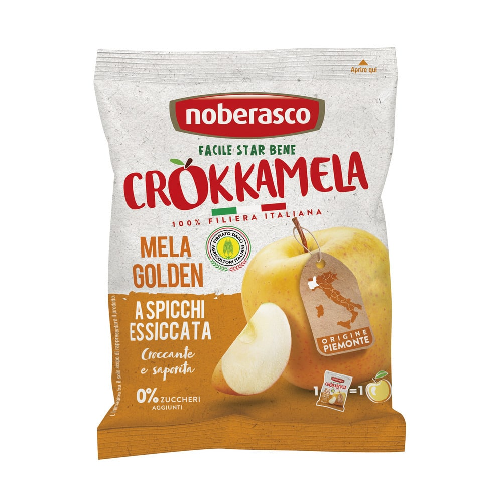 Noberasco Bio Crunchy Apple Crokkamela Golden 20g (NEW)