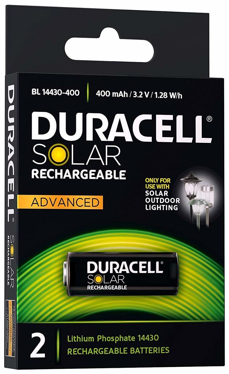 DURACELL SOLAR LITHIUM BATTERY 400mAh 3.2V (x2)