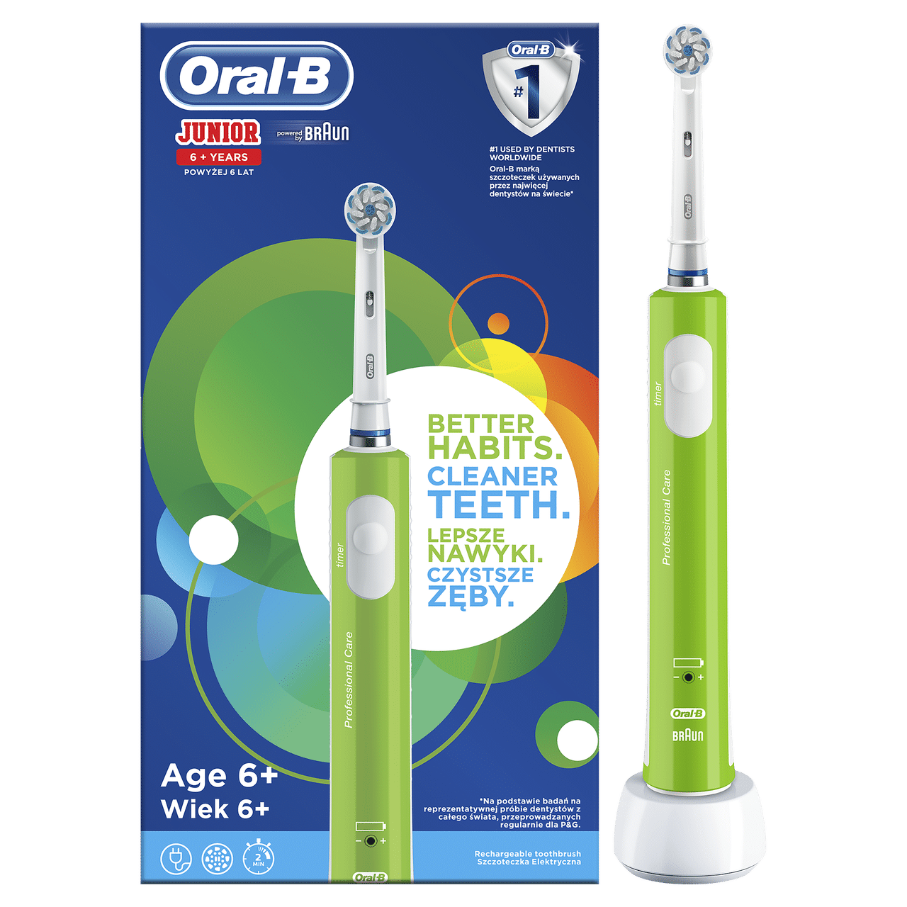 ORAL B POWER TOOTHBRUSH JUNIOR  GREEN HANDLE